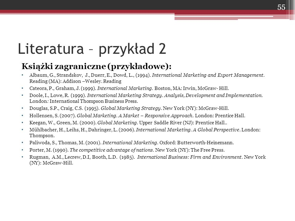 Książki zagraniczne (przykładowe): Albaum, G., Strandskov, J., Duerr, E., Dowd, L., (1994). International Marketing and Export Management. Reading (MA
