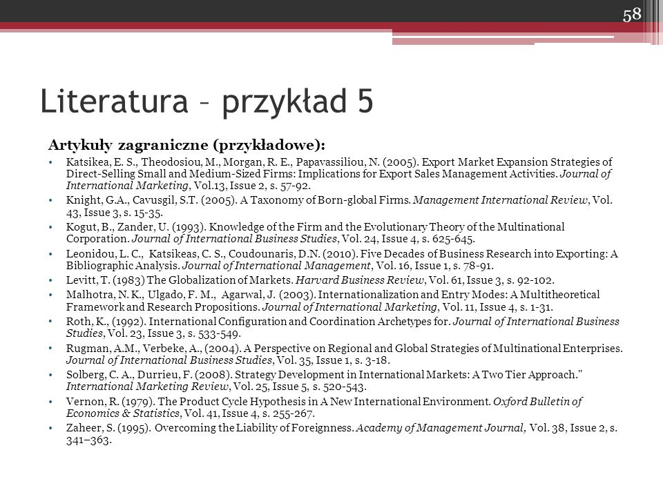 Artykuły zagraniczne (przykładowe): Katsikea, E. S., Theodosiou, M., Morgan, R. E., Papavassiliou, N. (2005). Export Market Expansion Strategies of Di