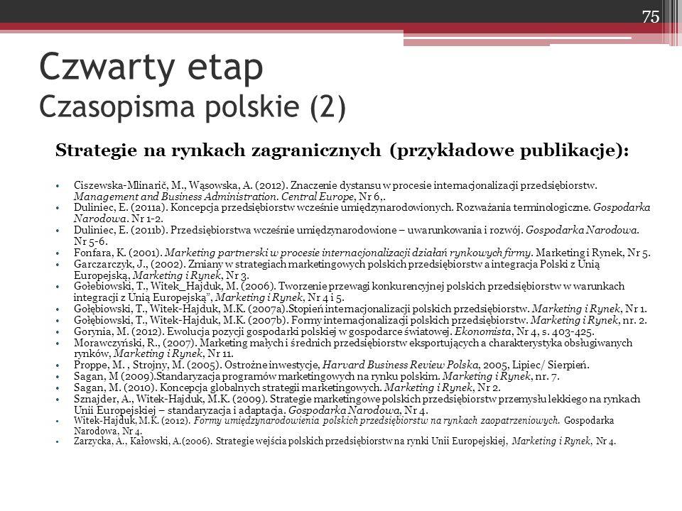 Czwarty etap Czasopisma polskie (2) Strategie na rynkach zagranicznych (przykładowe publikacje): Ciszewska-Mlinarič, M., Wąsowska, A.