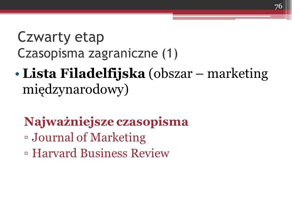 Czwarty etap Czasopisma zagraniczne (1) Lista Filadelfijska (obszar – marketing międzynarodowy) Najważniejsze czasopisma ▫Journal of Marketing ▫Harvard Business Review 76
