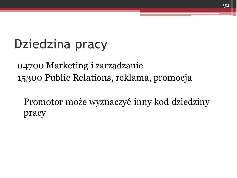 Dziedzina pracy 04700 Marketing i zarządzanie 15300 Public Relations, reklama, promocja Promotor może wyznaczyć inny kod dziedziny pracy 92