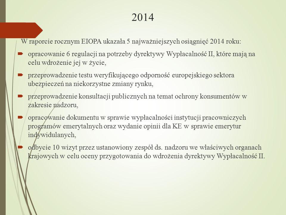 2014 W raporcie rocznym EIOPA ukazała 5 najważniejszych osiągnięć 2014 roku:  opracowanie 6 regulacji na potrzeby dyrektywy Wypłacalność II, które ma