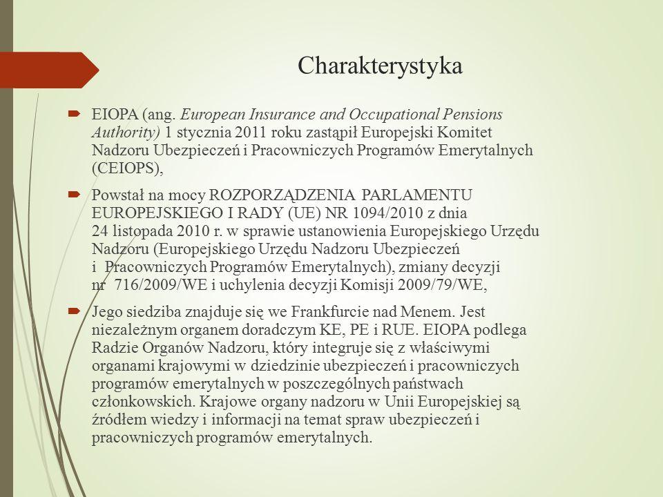 Charakterystyka  EIOPA (ang. European Insurance and Occupational Pensions Authority) 1 stycznia 2011 roku zastąpił Europejski Komitet Nadzoru Ubezpie