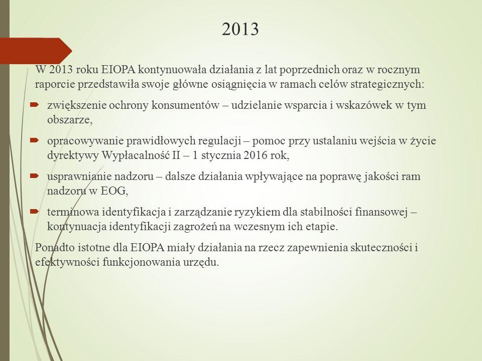 2013 W 2013 roku EIOPA kontynuowała działania z lat poprzednich oraz w rocznym raporcie przedstawiła swoje główne osiągnięcia w ramach celów strategic