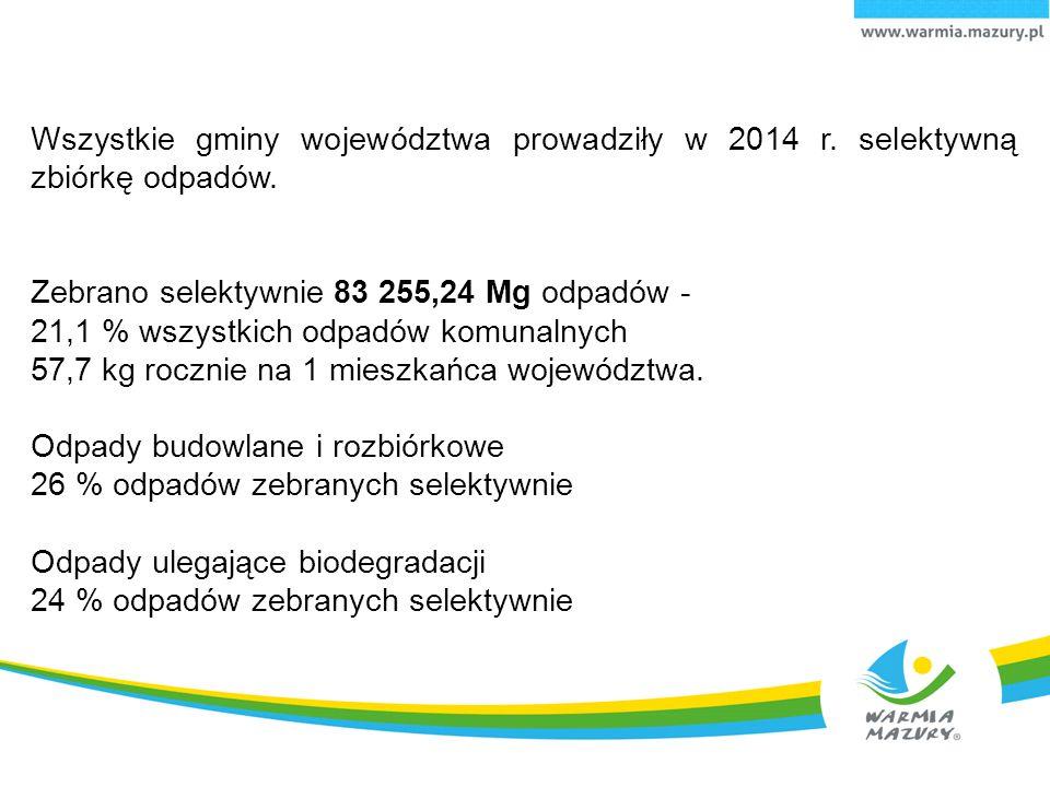 Wszystkie gminy województwa prowadziły w 2014 r.selektywną zbiórkę odpadów.