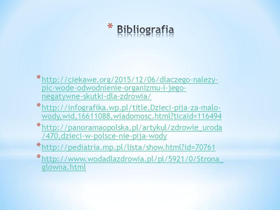 * http://ciekawe.org/2015/12/06/dlaczego-nalezy- pic-wode-odwodnienie-organizmu-i-jego- negatywne-skutki-dla-zdrowia/ http://ciekawe.org/2015/12/06/dlaczego-nalezy- pic-wode-odwodnienie-organizmu-i-jego- negatywne-skutki-dla-zdrowia/ * http://infografika.wp.pl/title,Dzieci-pija-za-malo- wody,wid,16611088,wiadomosc.html ticaid=116494 http://infografika.wp.pl/title,Dzieci-pija-za-malo- wody,wid,16611088,wiadomosc.html ticaid=116494 * http://panoramaopolska.pl/artykul/zdrowie_uroda /470,dzieci-w-polsce-nie-pija-wody http://panoramaopolska.pl/artykul/zdrowie_uroda /470,dzieci-w-polsce-nie-pija-wody * http://pediatria.mp.pl/lista/show.html id=70761 http://pediatria.mp.pl/lista/show.html id=70761 * http://www.wodadlazdrowia.pl/pl/5921/0/Strona_ glowna.html http://www.wodadlazdrowia.pl/pl/5921/0/Strona_ glowna.html