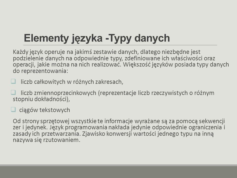 Elementy języka -Typy danych Każdy język operuje na jakimś zestawie danych, dlatego niezbędne jest podzielenie danych na odpowiednie typy, zdefiniowan