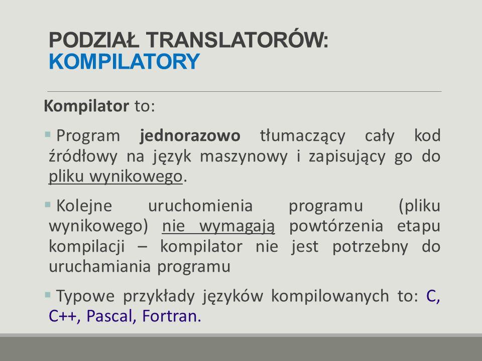 PODZIAŁ TRANSLATORÓW: KOMPILATORY Kompilator to:  Program jednorazowo tłumaczący cały kod źródłowy na język maszynowy i zapisujący go do pliku wyniko