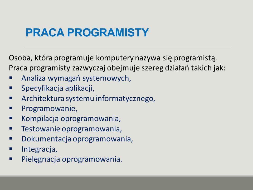 PRACA PROGRAMISTY Osoba, która programuje komputery nazywa się programistą. Praca programisty zazwyczaj obejmuje szereg działań takich jak:  Analiza