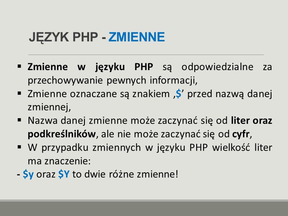 JĘZYK PHP - ZMIENNE  Zmienne w języku PHP są odpowiedzialne za przechowywanie pewnych informacji,  Zmienne oznaczane są znakiem '$' przed nazwą dane