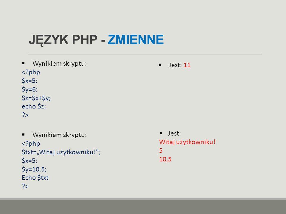 """JĘZYK PHP - ZMIENNE  Wynikiem skryptu:  Jest: 11  Wynikiem skryptu: <?php $txt=""""Witaj użytkowniku!"""