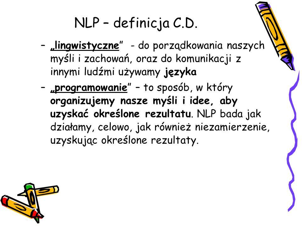"""NLP – definicja C.D. –""""lingwistyczne"""" - do porządkowania naszych myśli i zachowań, oraz do komunikacji z innymi ludźmi używamy języka –""""programowanie"""""""