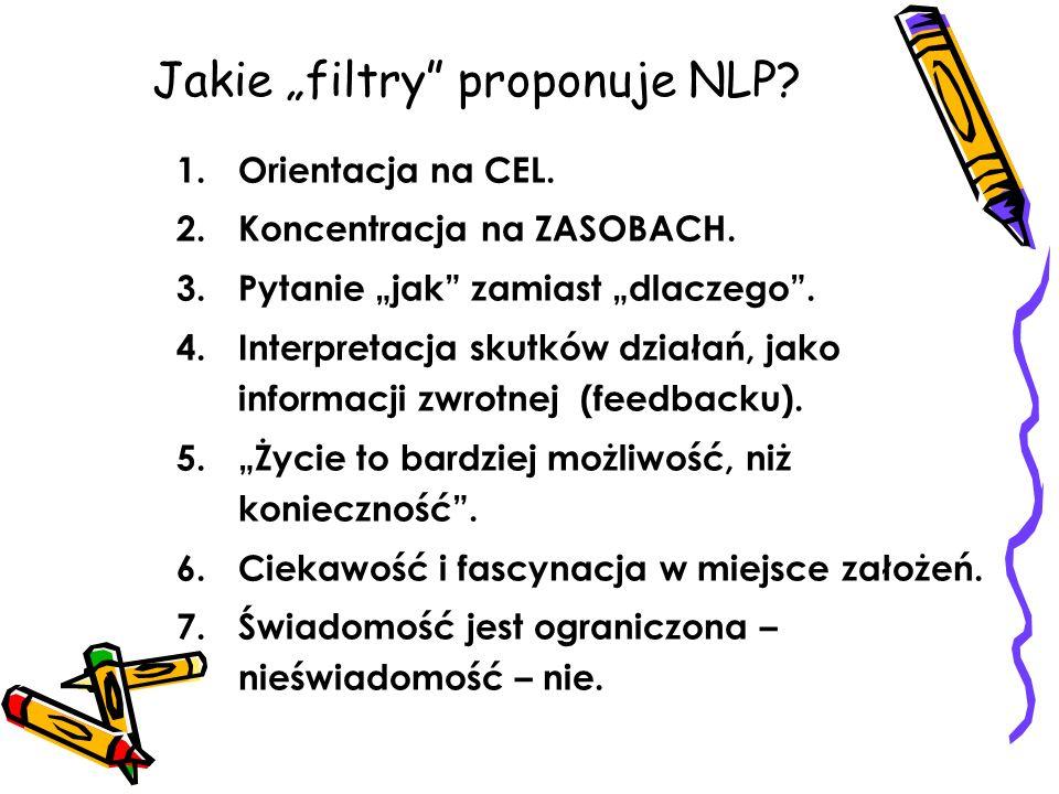 """Jakie """"filtry"""" proponuje NLP? 1.Orientacja na CEL. 2.Koncentracja na ZASOBACH. 3.Pytanie """"jak"""" zamiast """"dlaczego"""". 4.Interpretacja skutków działań, ja"""