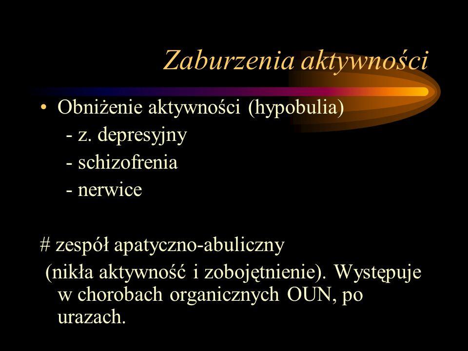 Zaburzenia aktywności Obniżenie aktywności (hypobulia) - z.