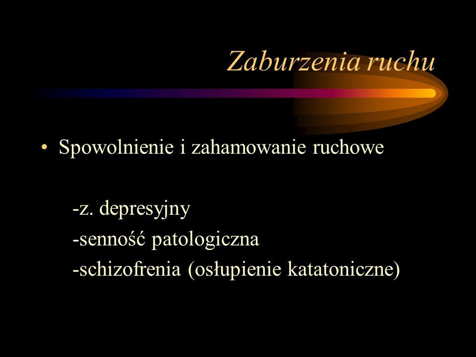Zaburzenia aktywności – c.d. Podwyższenie aktywności (hyperbulia) - płytkie stany maniakalne Sprzeczne dążenia (ambitendencja) -schizofrenia