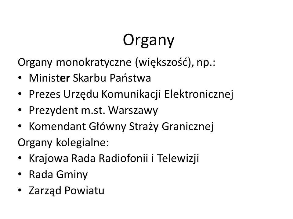 Organy Organy monokratyczne (większość), np.: Minister Skarbu Państwa Prezes Urzędu Komunikacji Elektronicznej Prezydent m.st. Warszawy Komendant Głów
