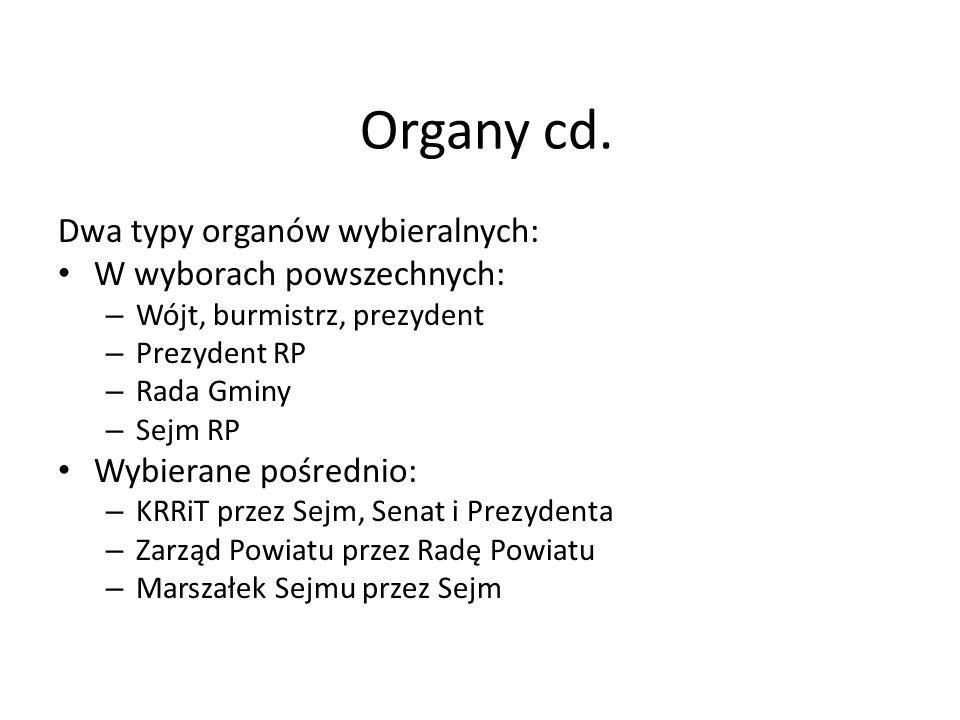 Organy cd. Dwa typy organów wybieralnych: W wyborach powszechnych: – Wójt, burmistrz, prezydent – Prezydent RP – Rada Gminy – Sejm RP Wybierane pośred