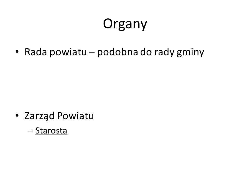 Organy Rada powiatu – podobna do rady gminy Zarząd Powiatu – Starosta