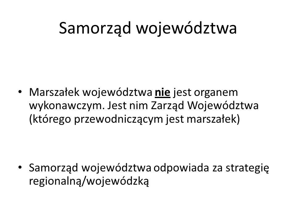 Samorząd województwa Marszałek województwa nie jest organem wykonawczym. Jest nim Zarząd Województwa (którego przewodniczącym jest marszałek) Samorząd
