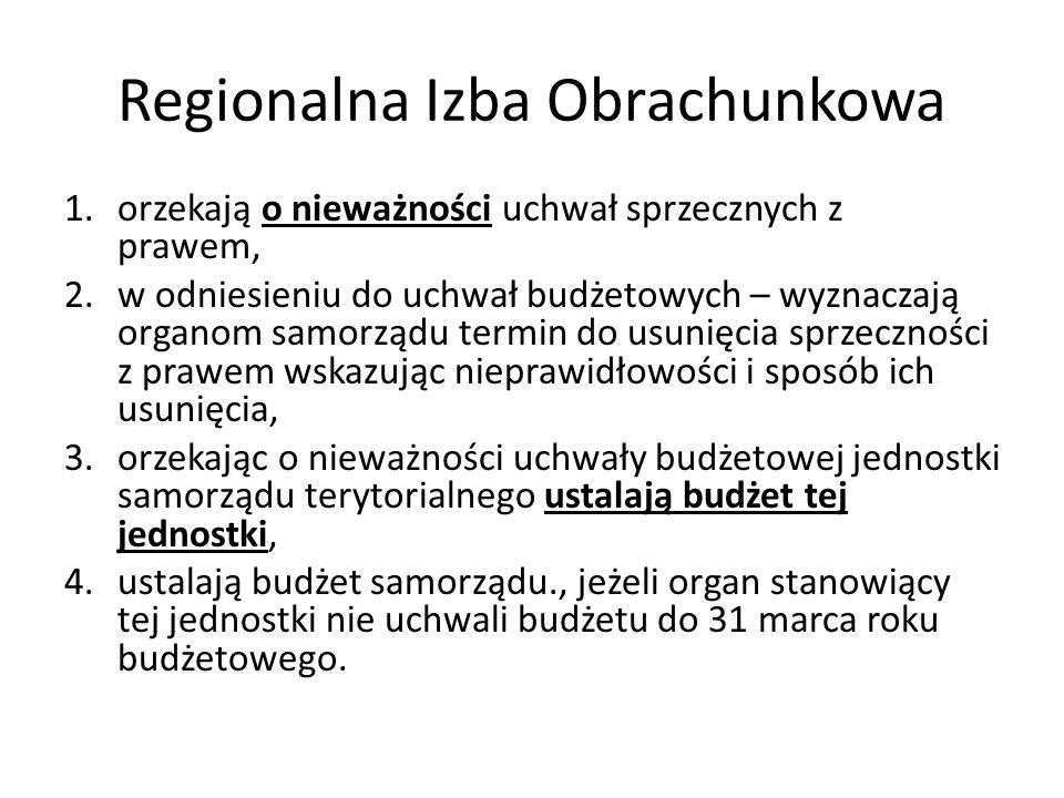 Regionalna Izba Obrachunkowa 1.orzekają o nieważności uchwał sprzecznych z prawem, 2.w odniesieniu do uchwał budżetowych – wyznaczają organom samorząd
