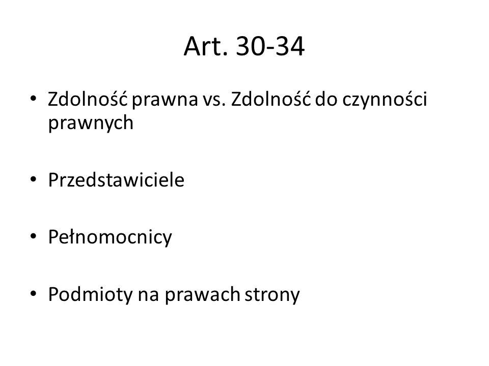 Art. 30-34 Zdolność prawna vs. Zdolność do czynności prawnych Przedstawiciele Pełnomocnicy Podmioty na prawach strony