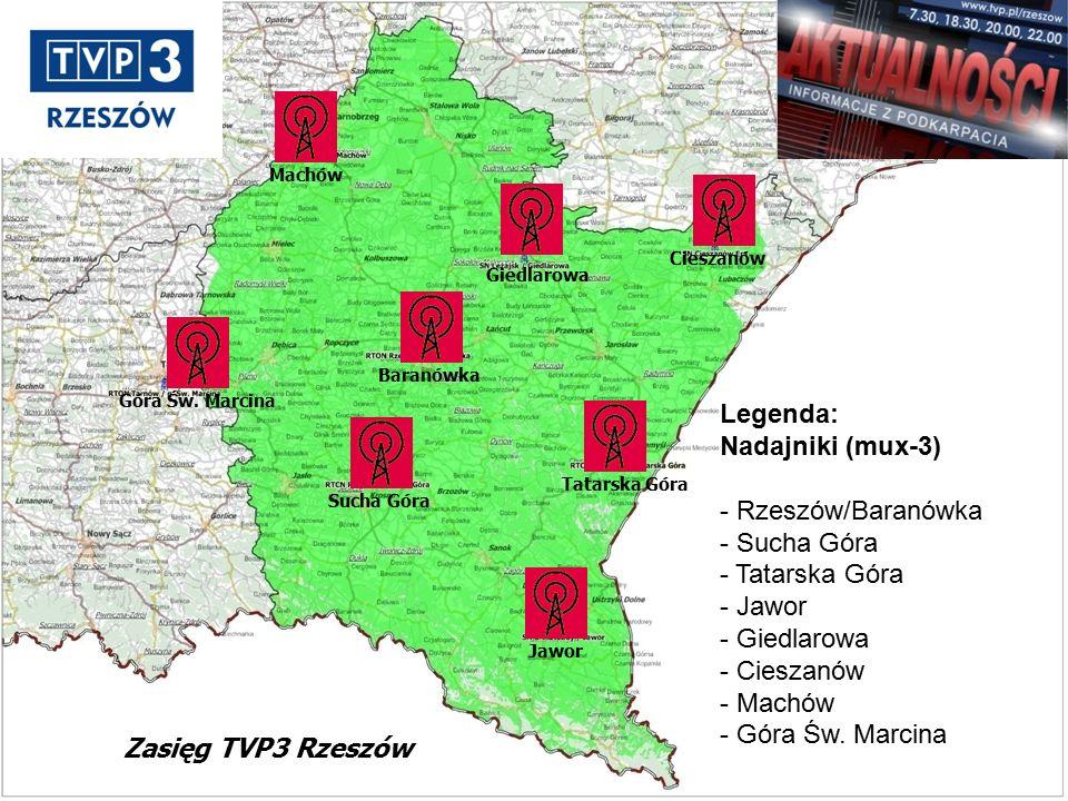 Legenda: Nadajniki (mux-3) - Rzeszów/Baranówka - Sucha Góra - Tatarska Góra - Jawor - Giedlarowa - Cieszanów - Machów - Góra Św.