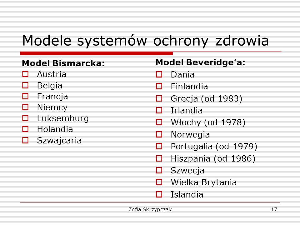 Zofia Skrzypczak17 Modele systemów ochrony zdrowia Model Bismarcka:  Austria  Belgia  Francja  Niemcy  Luksemburg  Holandia  Szwajcaria Model B