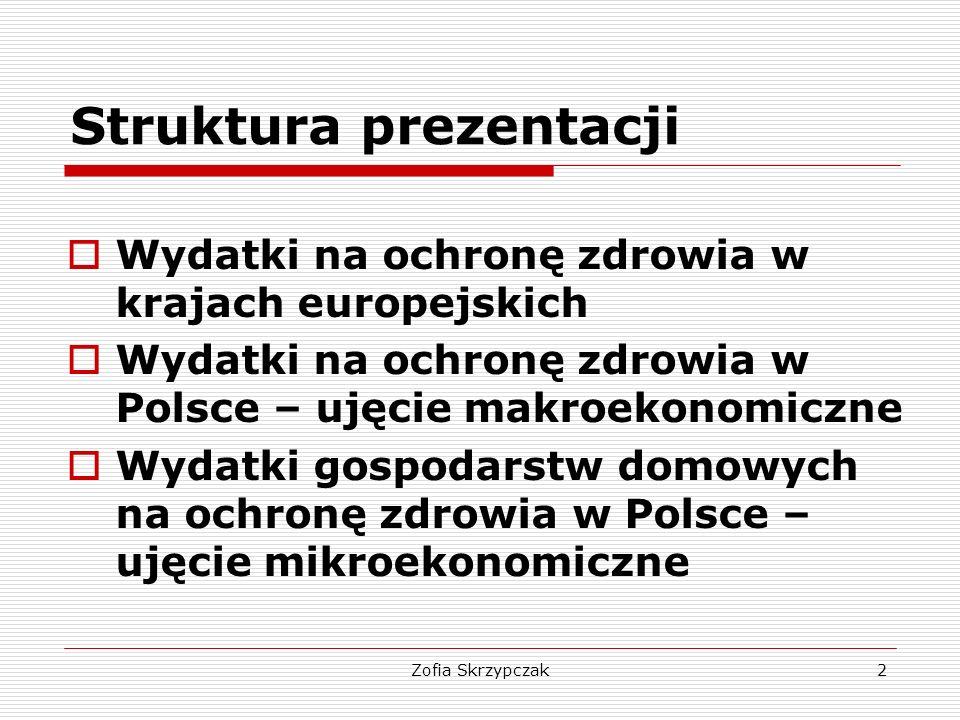 Zofia Skrzypczak13 Finansowanie publiczne ochrony zdrowia  Rozpiętość udziału wydatków publicznych w wydatkach na ochronę zdrowia uległa w latach 2000 – 2011 ograniczeniu (z 55-90% do 60- 85%); znaczący spadek udziału odnotowano w Czechach i na Słowacji, spadek – na Węgrzech, w Niemczech, Szwecji; wzrost (o kilka pp.