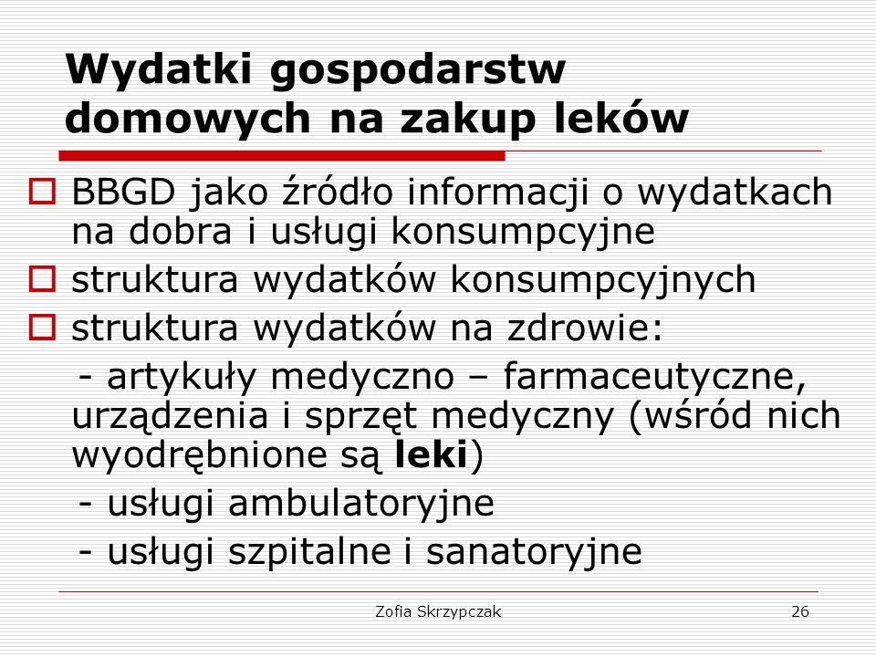 Zofia Skrzypczak26 Wydatki gospodarstw domowych na zakup leków  BBGD jako źródło informacji o wydatkach na dobra i usługi konsumpcyjne  struktura wy