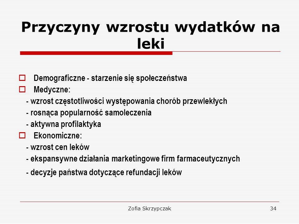Zofia Skrzypczak34 Przyczyny wzrostu wydatków na leki  Demograficzne - starzenie się społeczeństwa  Medyczne: - wzrost częstotliwości występowania c