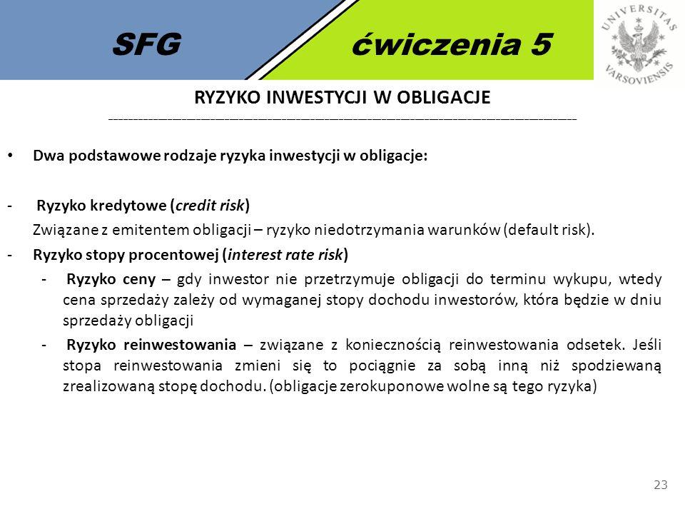 SFGćwiczenia 5 23 Dwa podstawowe rodzaje ryzyka inwestycji w obligacje: - Ryzyko kredytowe (credit risk) Związane z emitentem obligacji – ryzyko niedo