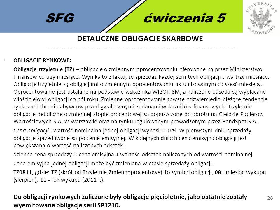 SFGćwiczenia 5 28 OBLIGACJE RYNKOWE: Obligacje trzyletnie (TZ) – obligacje o zmiennym oprocentowaniu oferowane są przez Ministerstwo Finansów co trzy