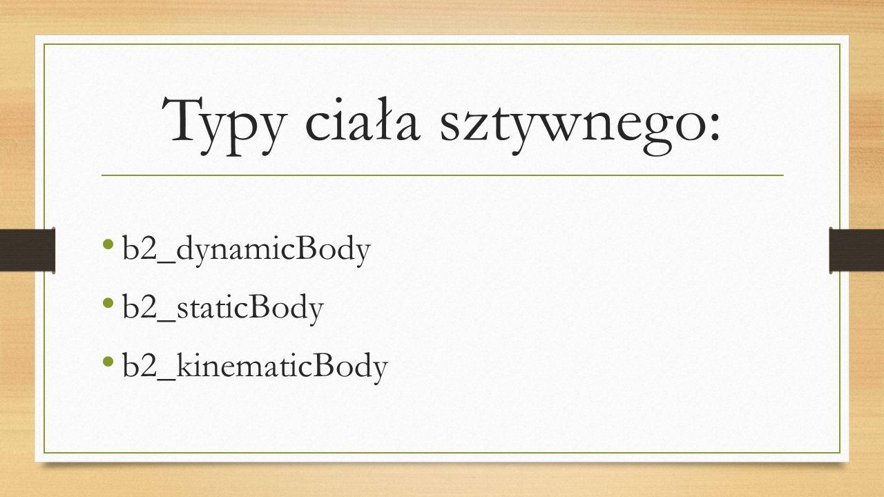Typy ciała sztywnego: b2_dynamicBody b2_staticBody b2_kinematicBody