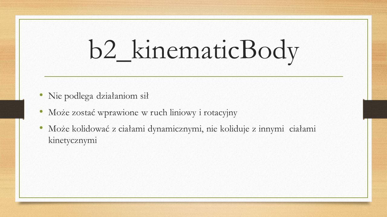 b2_kinematicBody Nie podlega działaniom sił Może zostać wprawione w ruch liniowy i rotacyjny Może kolidować z ciałami dynamicznymi, nie koliduje z inn