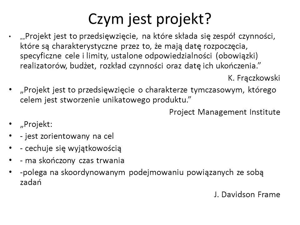 """Czym jest projekt? """""""" Projekt jest to przedsięwzięcie, na które składa się zespół czynności, które są charakterystyczne przez to, że mają datę rozpocz"""