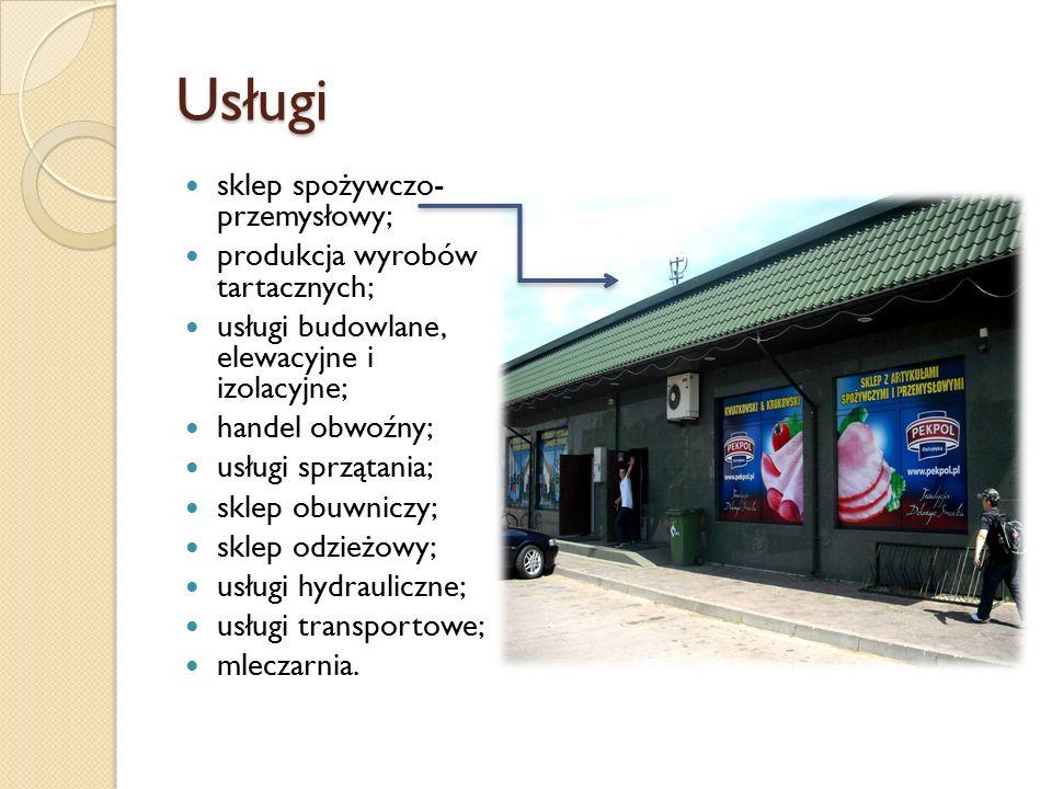 Usługi sklep spożywczo- przemysłowy; produkcja wyrobów tartacznych; usługi budowlane, elewacyjne i izolacyjne; handel obwoźny; usługi sprzątania; skle