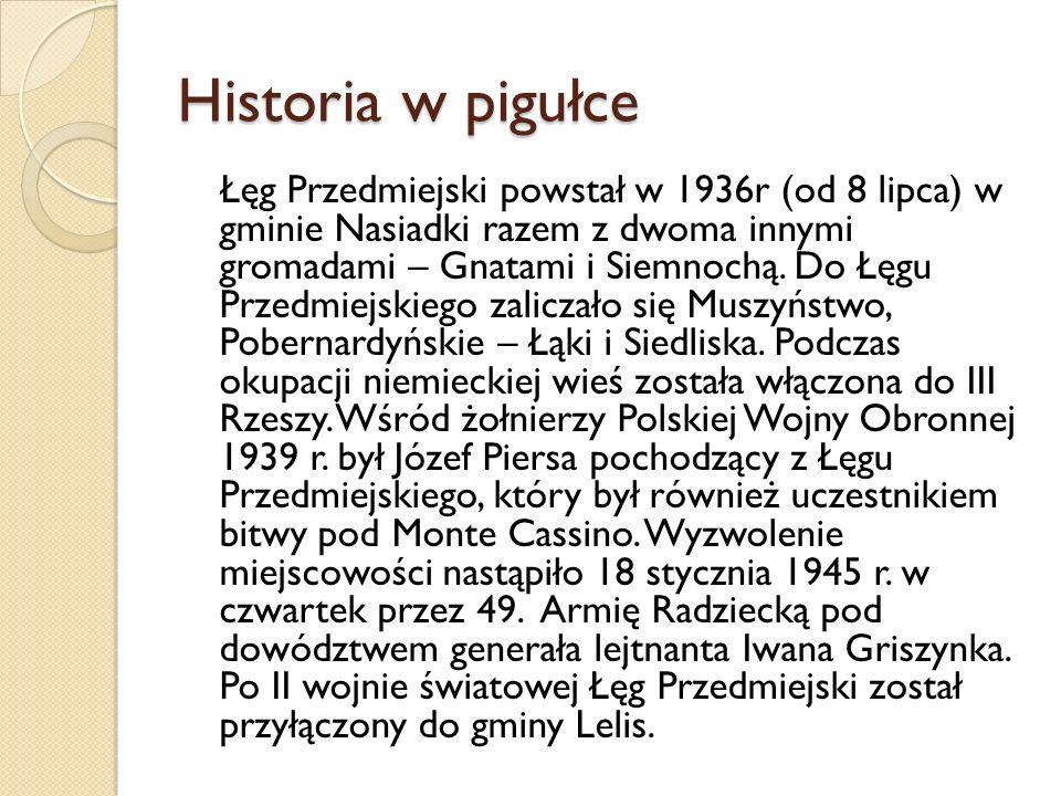 Historia w pigułce Łęg Przedmiejski powstał w 1936r (od 8 lipca) w gminie Nasiadki razem z dwoma innymi gromadami – Gnatami i Siemnochą. Do Łęgu Przed