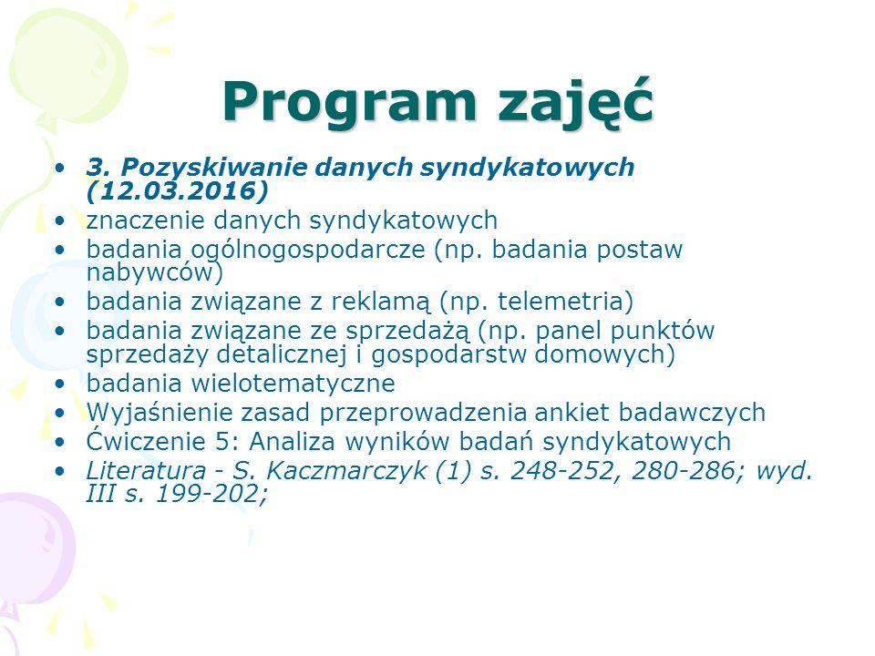 Program zajęć 3. Pozyskiwanie danych syndykatowych (12.03.2016) znaczenie danych syndykatowych badania ogólnogospodarcze (np. badania postaw nabywców)