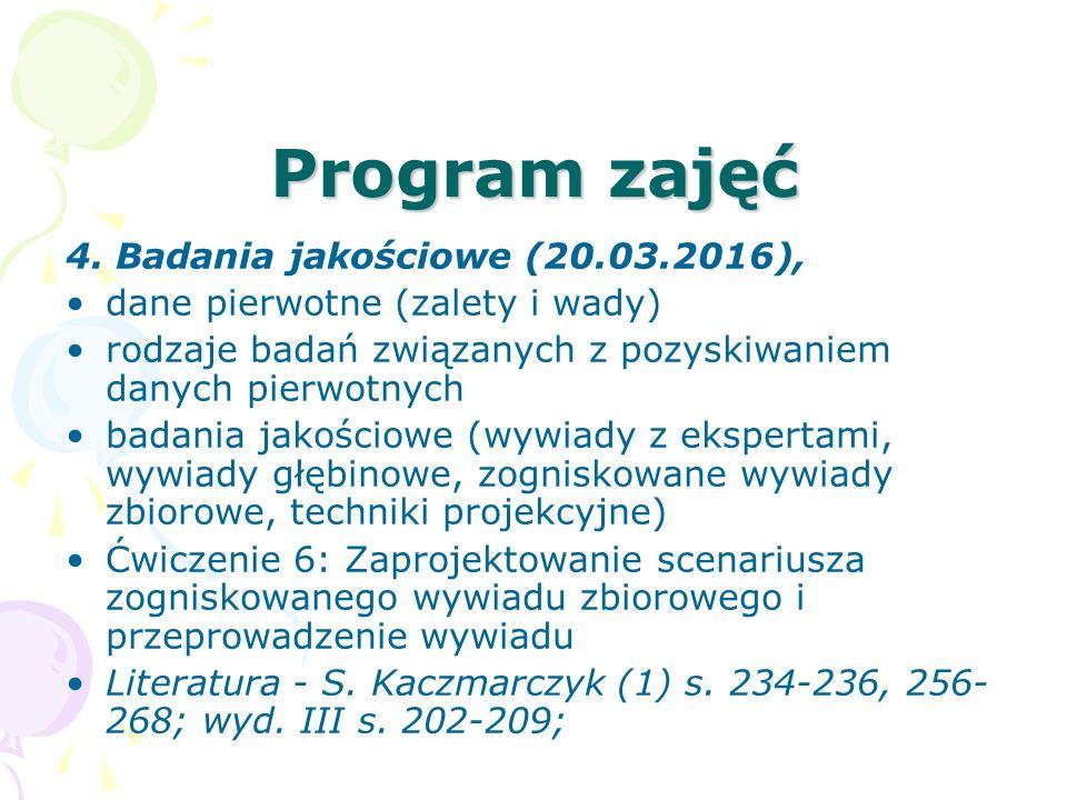 Program zajęć 4. Badania jakościowe (20.03.2016), dane pierwotne (zalety i wady) rodzaje badań związanych z pozyskiwaniem danych pierwotnych badania j