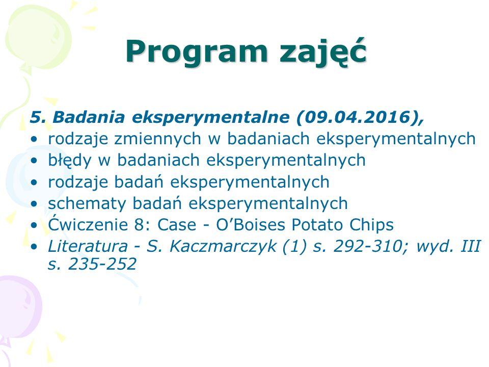 Program zajęć 5. Badania eksperymentalne (09.04.2016), rodzaje zmiennych w badaniach eksperymentalnych błędy w badaniach eksperymentalnych rodzaje bad