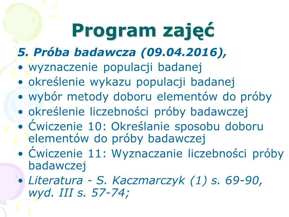 Program zajęć 5. Próba badawcza (09.04.2016), wyznaczenie populacji badanej określenie wykazu populacji badanej wybór metody doboru elementów do próby