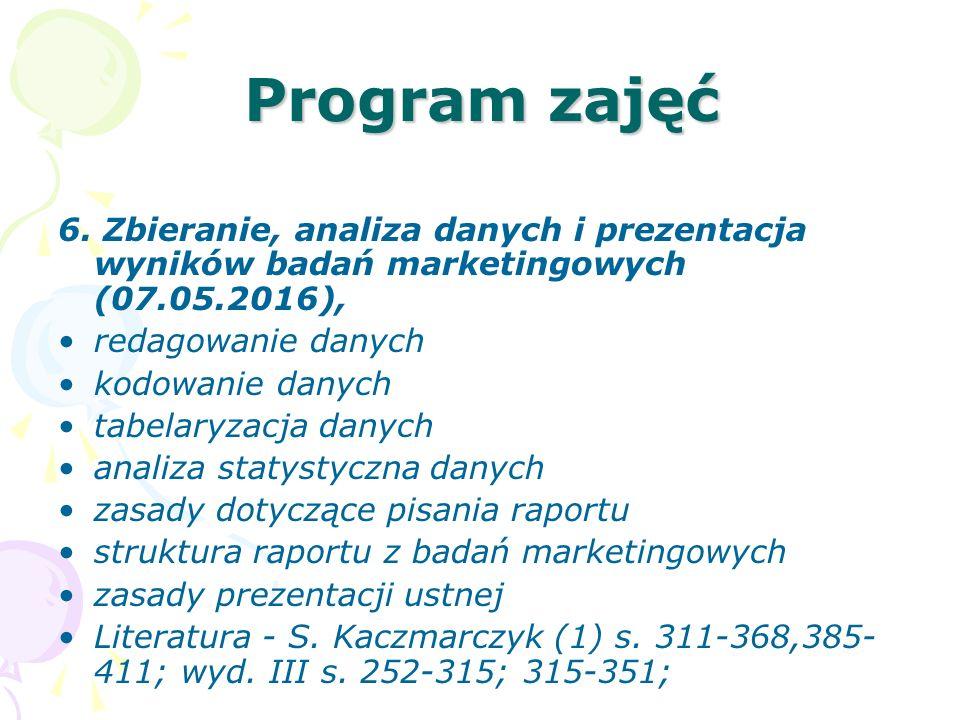 Program zajęć 6. Zbieranie, analiza danych i prezentacja wyników badań marketingowych (07.05.2016), redagowanie danych kodowanie danych tabelaryzacja