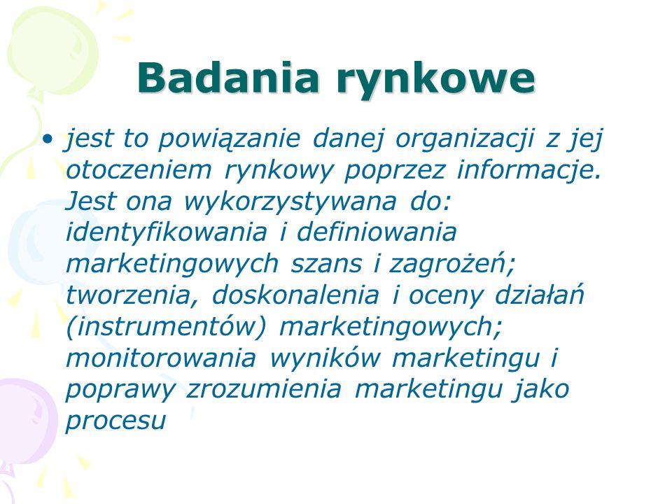 Badania rynkowe jest to powiązanie danej organizacji z jej otoczeniem rynkowy poprzez informacje. Jest ona wykorzystywana do: identyfikowania i defini