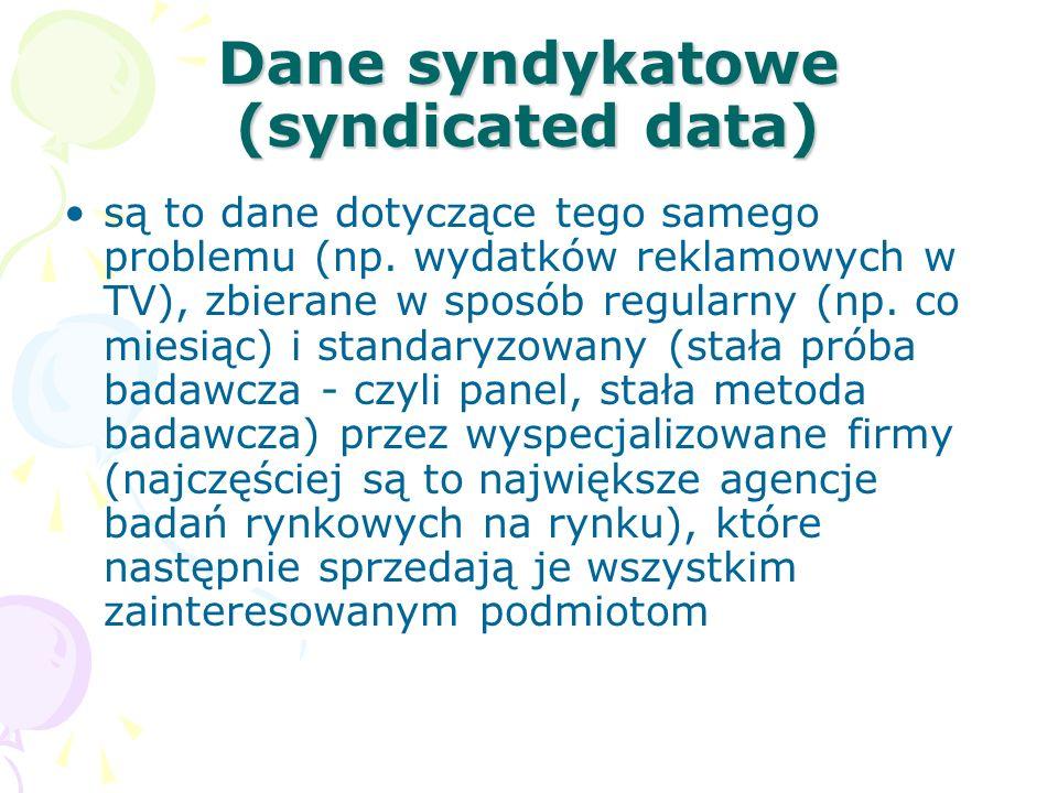 Dane syndykatowe (syndicated data) są to dane dotyczące tego samego problemu (np. wydatków reklamowych w TV), zbierane w sposób regularny (np. co mies