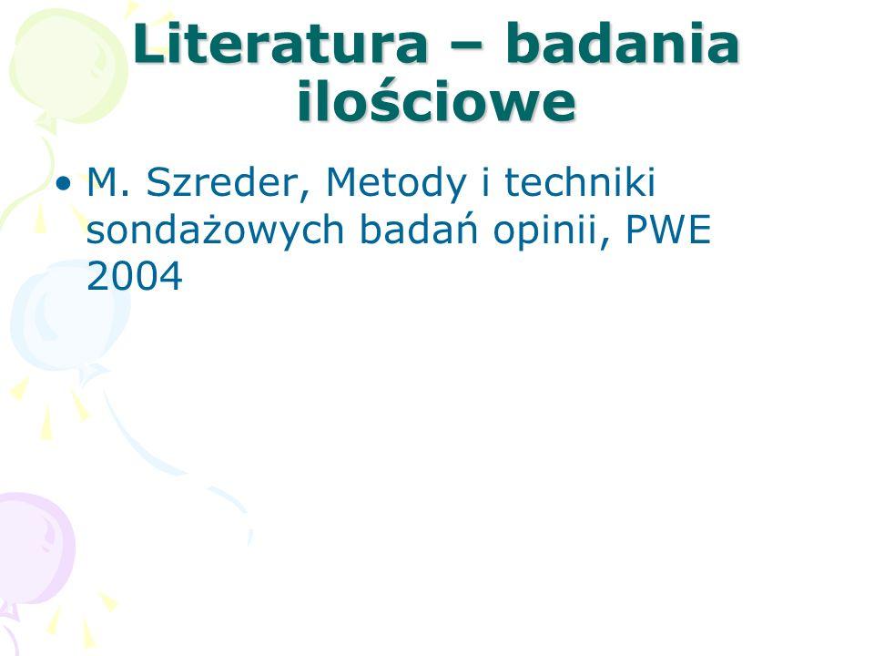 Literatura – badania jakościowe U.