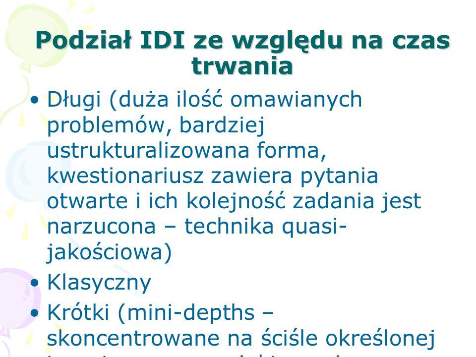 Podział IDI ze względu na czas trwania Długi (duża ilość omawianych problemów, bardziej ustrukturalizowana forma, kwestionariusz zawiera pytania otwar