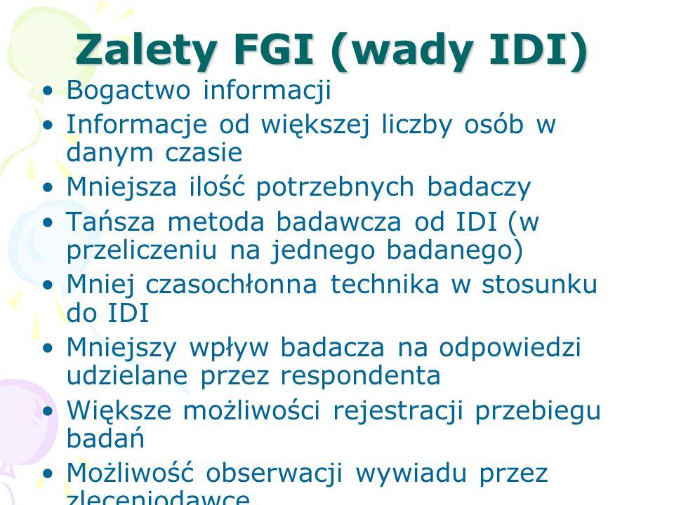 Zalety FGI (wady IDI) Bogactwo informacji Informacje od większej liczby osób w danym czasie Mniejsza ilość potrzebnych badaczy Tańsza metoda badawcza