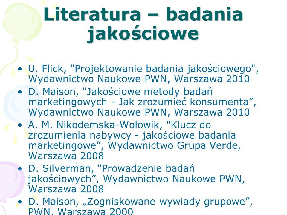 Literatura – badania jakościowe U. Flick,