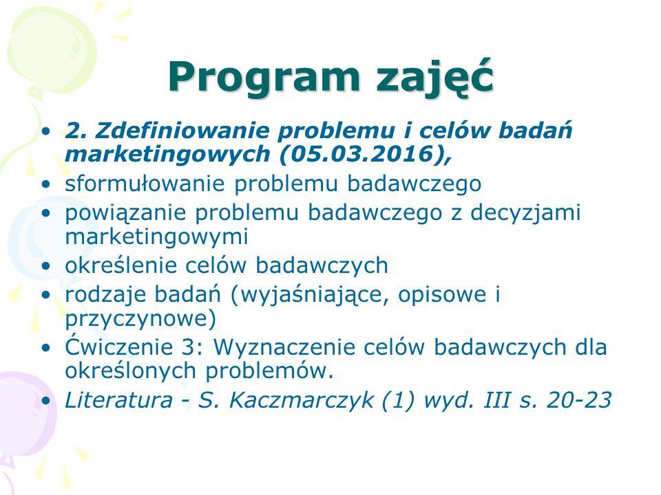 Program zajęć 2. Zdefiniowanie problemu i celów badań marketingowych (05.03.2016), sformułowanie problemu badawczego powiązanie problemu badawczego z