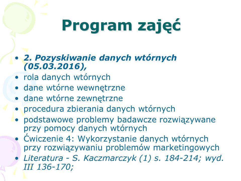 Program zajęć 2. Pozyskiwanie danych wtórnych (05.03.2016), rola danych wtórnych dane wtórne wewnętrzne dane wtórne zewnętrzne procedura zbierania dan